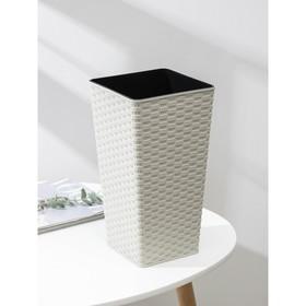 Кашпо со вставкой «Ротанг», 5,5 л (2,7 л), цвет белая роза