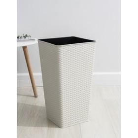 Кашпо со вставкой «Ротанг», 15 л (7 л), цвет белая роза
