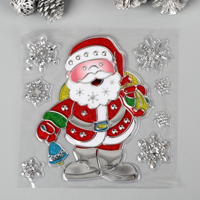 """Наклейка пластик с блёстками, серебром """"Дед Мороз"""" МИКС  21х16 см"""