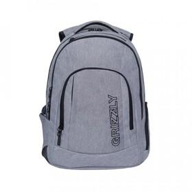 Рюкзак молодёжный с эргономичной спинкой Grizzly, 48 х 36 х 19, серый