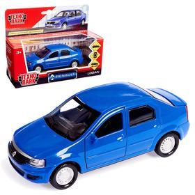 Машина металлическая Renault Logan, открываются двери, инерционная, цвет синий, 12 см
