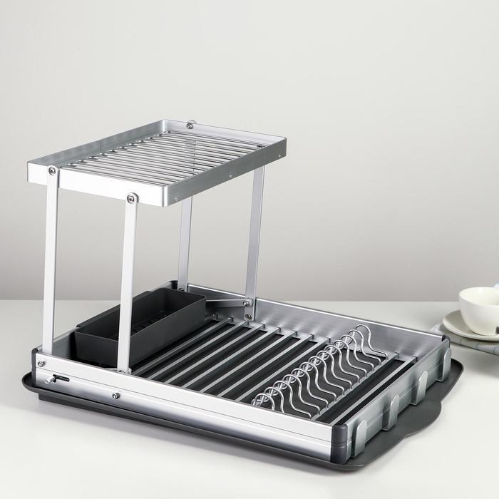 Сушилка для посуды и столовых приборов складная, с поддоном, 32×44×31 см, цвет серый