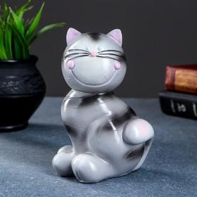 "Копилка ""Кот улыбашкин"" серый 15х11х10см"