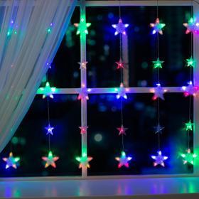 """Гирлянда """"Бахрома"""" 2.4 х 0.9 м с насадками """"Звёздочки"""", IP20, прозрачная нить, 186 LED, свечение мульти, 8 режимов, 220 В"""