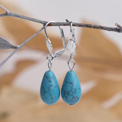 """Earrings silver plated drop """"new Turquoise"""""""