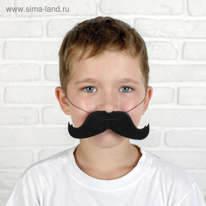 Mustache twisted up rubber band, p-p 14*2 cm, Col.black