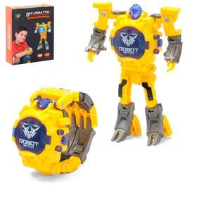 Робот-трансформер «Часы», трансформируется в часы, работает от батареек, цвет жёлтый