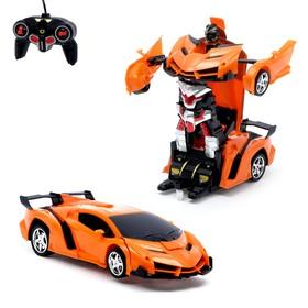 Робот-трансформер радиоуправляемый «Ламбо», трансформируется с пульта, масштаб 1:18, цвет оранжевый