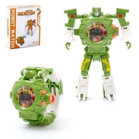 Робот-трансформер «Часы», с функцией проектора, цвет зелёный
