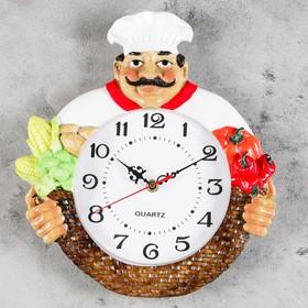 """Часы настенные, серия: Кухня, """"Усатый повар"""", d=20 см, ручная работа"""