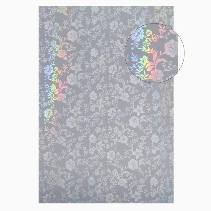 """Бумага для творчества фольгированная """"Цветы серебряные"""" (в наборе 10 листов), формат А4"""