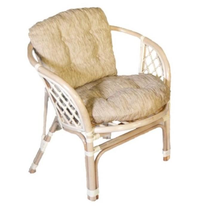 Кресло натурального ротанга, подушки светлые/цветные, цвет натуральный, «Багама»