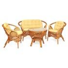 Комплект «Меланж», из натурального ротанга: стол, диван, два кресла, ротанг, светлые подушки, цвет коньяк