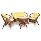 Комплект «Меланж», из натурального ротанга: стол, диван, два кресла, ротанг, светлые подушки, цвет молочный шоколад