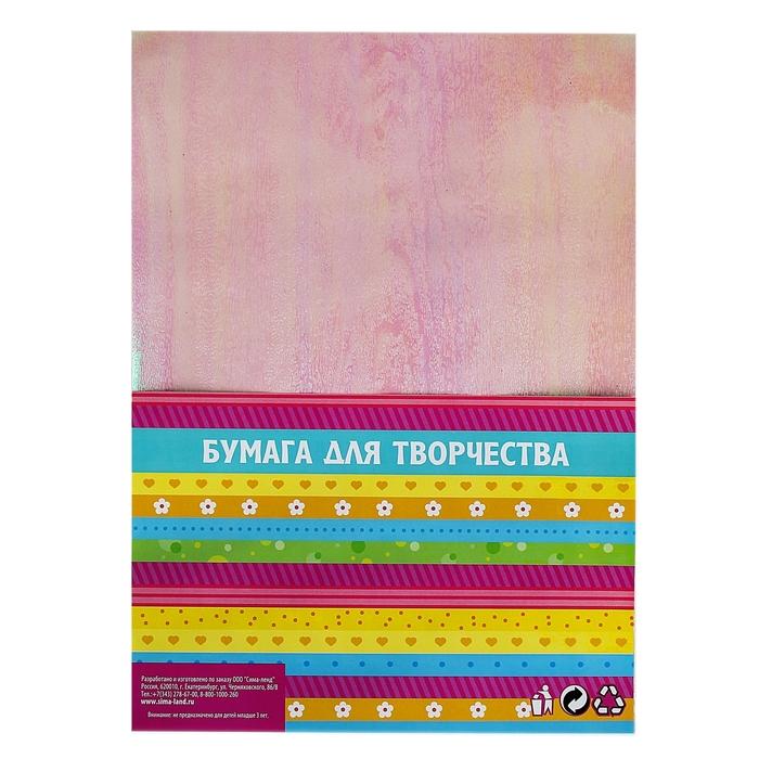 """Бумага для творчества перламутровая """"Фактура дерева серебряная"""" А4, набор 10 листов"""