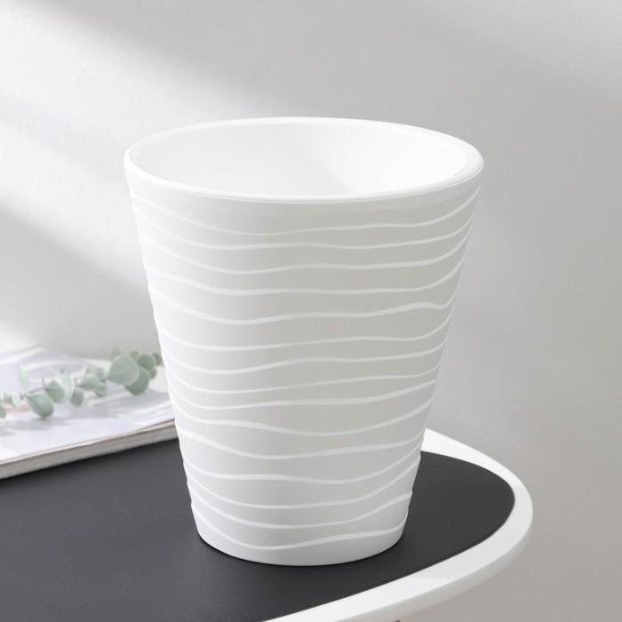 Кашпо со вставкой «Валенсия», 5,2 л, цвет белый - фото 833036