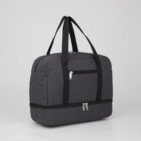 Сумка спортивная, отдел на молнии, 2 наружных кармана, крепление для чемодана, цвет чёрный