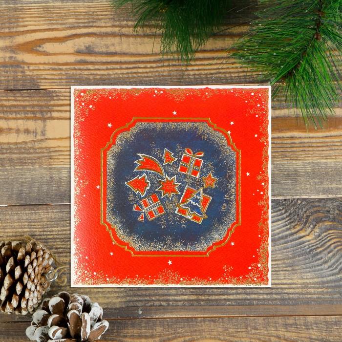 """Открытка """"С Новым Годом!"""" бархатный картон, подарки"""
