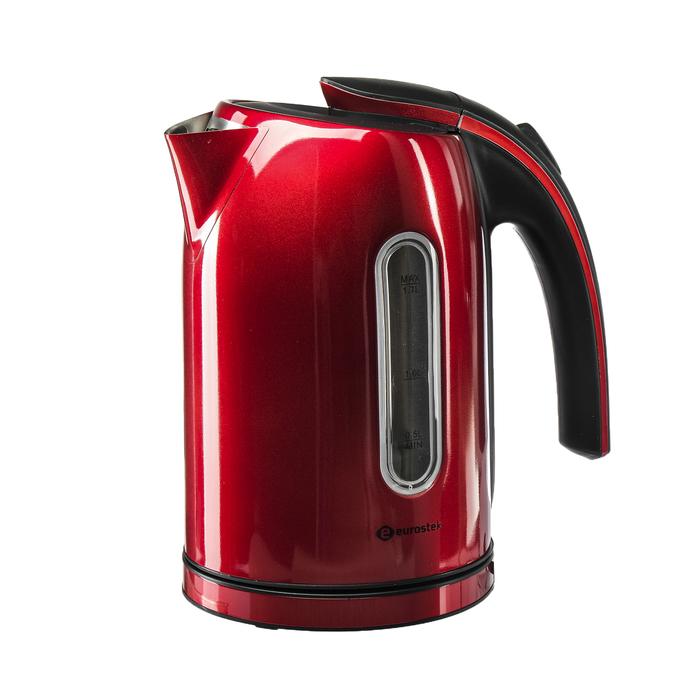 Чайник электрический EuroStek ЕЕК-2212, 2200 Вт, 1.7 л, металл, красный