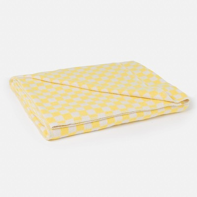 Blanket flannelette, 420 g/m2, 140х205 cage yellow, 80% cotton, 20% Dacron