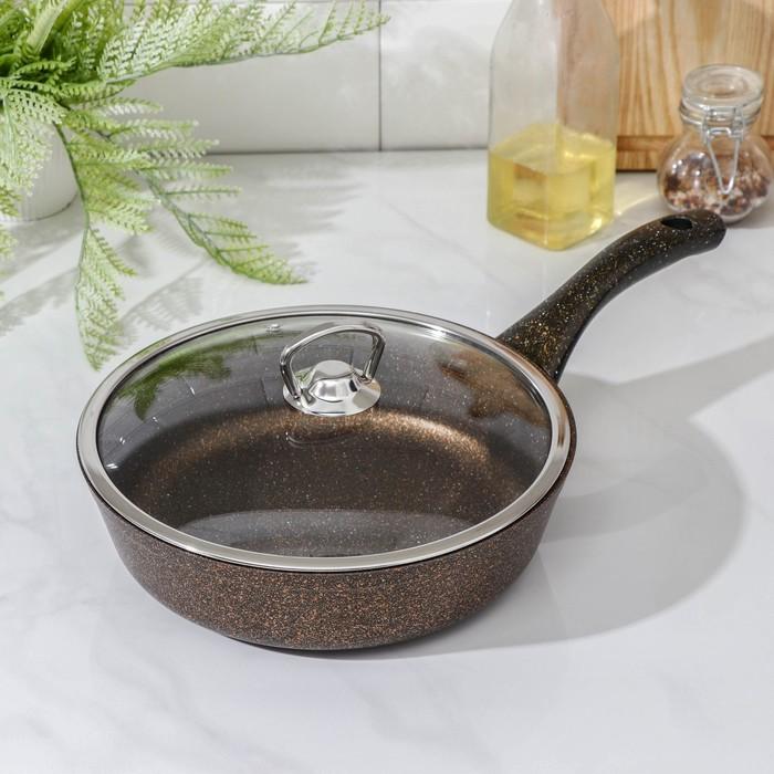Сковорода 22 см, антипригарное покрытие, индукционное дно, стеклянная крышка