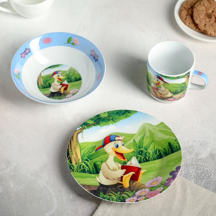 Набор детской посуды «Утёнок», 3 предмета: кружка 250 мл, миска 400 мл, тарелка 18 см