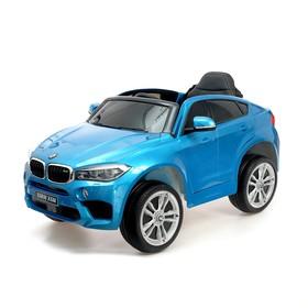 Электромобиль BMW X6M, цвет глянец синий, EVA колеса, кожаное сидение