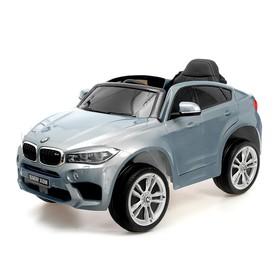 Электромобиль BMW X6M, цвет глянец серебро, EVA колеса, кожаное сидение