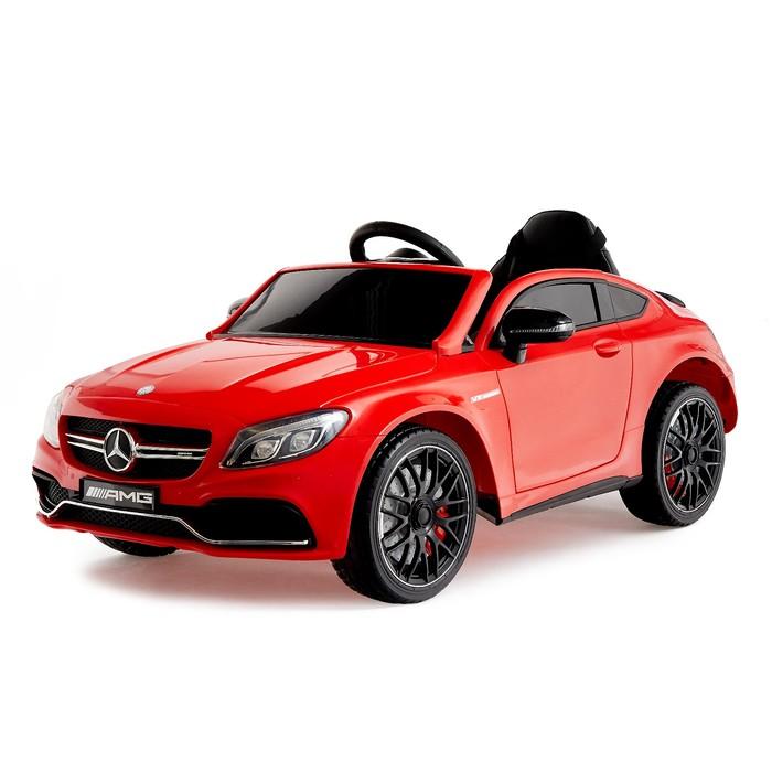 Электромобиль MERCEDES-BENZ C63 S AMG, цвет красный, EVA колеса