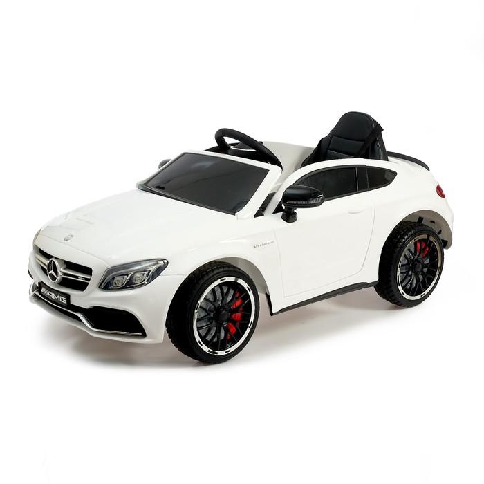 Электромобиль MERCEDES-BENZ C63 S AMG, цвет белый, EVA колеса