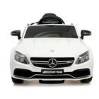 Электромобиль MERCEDES-BENZ C63 S AMG, цвет белый, EVA колеса - фото 105642217