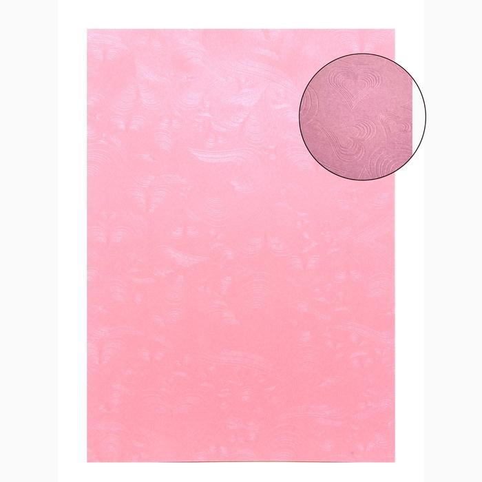 "Бумага для творчества фактурная ""Сердца розовые"" А4, набор 100 листов, 80 г/м"