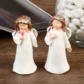 """Сувенир полистоун """"Ангел в белоснежном платье с веночком на голове"""" МИКС 7,5х3,3х3 см"""