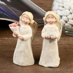 """Сувенир полистоун """"Ангел-девочка с двумя шишечками, в белом платье"""" МИКС 10х3,2х3,5 см"""