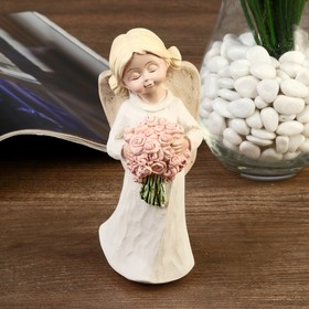 "Souvenir Polyresin ""angel-girl with two knobs, with a bouquet/heart"" MIX 15h5,8x5, 4 cm"