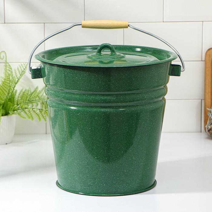 Ведро с крышкой 12 л, цвет зелёный