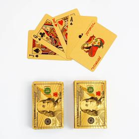"""Карты игральные пластиковые """"100$"""", 55 шт, 32 мкм, 9х6 см, золотые"""