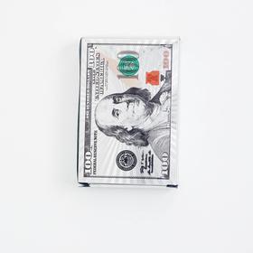 """Карты игральные пластиковые """"100$"""", 55 шт, 32 мкм, 9х6 см, серебро"""