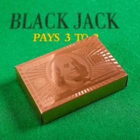 """Карты игральные пластиковые """"Доллар"""", 54 шт, розовое золото, 9х6 см, 28 мкр"""