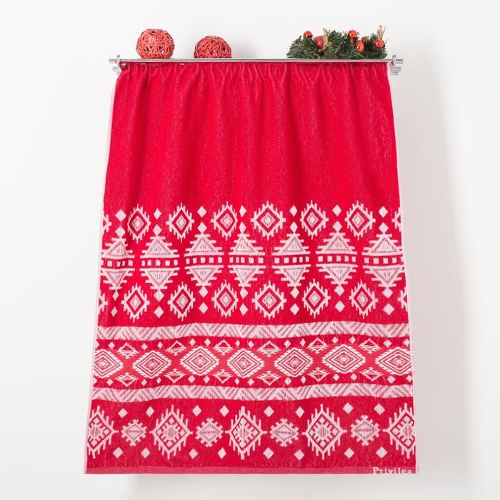 Полотенце махровое Узор, цвет красный, размер 75х150 см,100 % хлопок