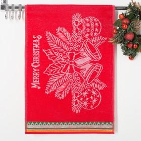 Полотенце махровое Колокольчики, цвет  красный, размер 50х30 см, 100 % хлопок