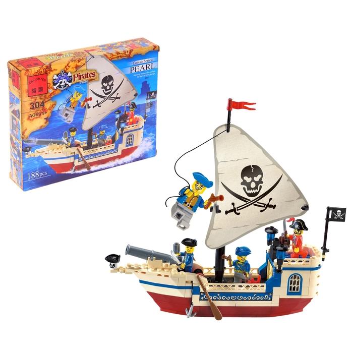 Конструктор «Пиратский корабль», 188 деталей