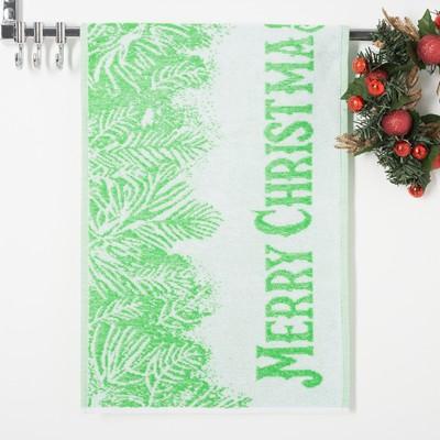 Terry towel Privilea 19C4 Merry Christmas1 50х30 cm, green, 100% cotton