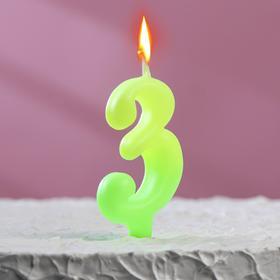 """Свеча для торта цифра """"Люминесцентная"""" """"3"""""""
