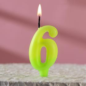 """Свеча для торта цифра """"Люминесцентная"""" """"6"""""""