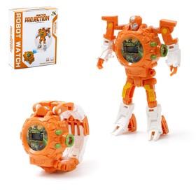 Робот-трансформер «Часы», с функцией проектора, цвет коричневый