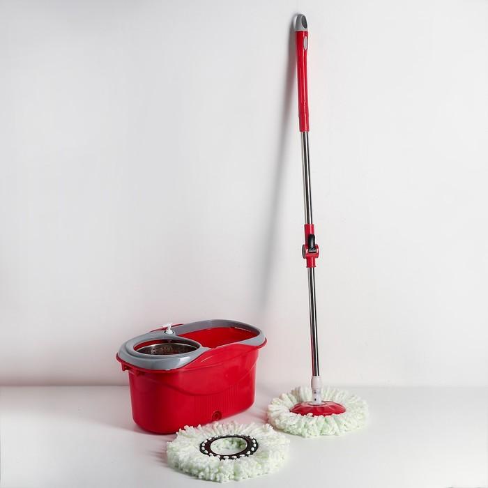 Набор для уборки: ведро с металлической центрифугой 16 л, швабра, доп. насадка, дозатор, цвет МИКС
