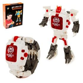 Робот «Часы», трансформируется в часы, работает от батареек, цвет белый
