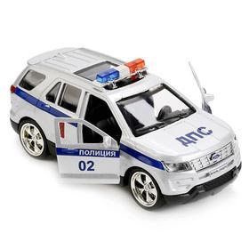 Машина металлическая «Ford Explorer полиция» 12 см, открывающиеся двери, инерционная