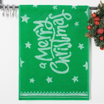 Terry towel Privilea19C4 Merry Christmas 50х30 6 cm, green, 100% cotton